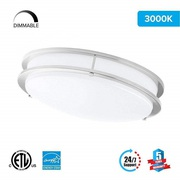 LED Double Ring 12in. Flush Mount - 14 Watt - Dimmable - 3000K - 1100