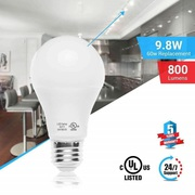 A19 Dimmable LED Light Bulb,  9.8W,  6500K (Cool White),  800 Lumens,  (E2