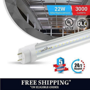 T8 4ft 22W LED Tube 3000 Lumens 5000K Clear Single Ended Power